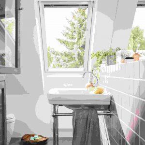 VELUX GLU 0051 Okno dachowe obrotowe łazienkowe z górnym otwieraniem [2-szybowe]