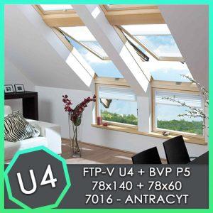 fakro zestaw okno kolankowe BVP P5 78x60 FTP U4 78x140