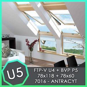 fakro zestaw okno kolankowe BVP P5 78x60 FTP U5 78x118