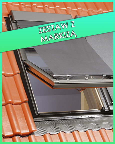 zestaw okno dachowe z markizą